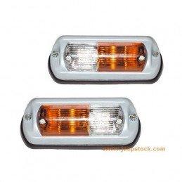 Clignotant/veilleuse (X2) pour aile D et G, en Aluminium moulé -  Jeep Wrangler YJ 1987-1995 / CJ 1972-1986 // 2B001.278-011+2B0