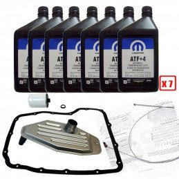Pack vidange boite auto 545RFE Jeep Wrangler, Grand-Cherokee, Cherokee 1999-2018 / 7L huile ATF+4 + filtres + joints + doc