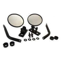 Rétroviseurs noirs ronds (X2) - Fix. sur montant porte - Jeep Wrangler JK 07-17 / TJ 97-06 / YJ 87-95 / CJ 76-86 // RT30020