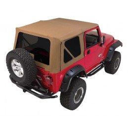 Bâche complète Camel + Arceaux + vitres teintées - Jeep Wrangler TJ 1997-2006 Portes en Acier // CT20437T
