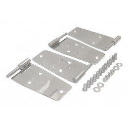Charnières portes hautes (x2), percées pour fixation des rétroviseurs, Inox - Jeep Wrangler YJ 1987-1993 - CJ 76-86 // RT34008