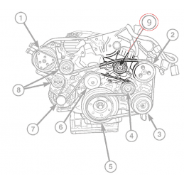 Galet de renvoi courroie (pompe DA) Jeep Grand-Cherokee WJ 2.7L CRD 02-05 5 cylindres - Mercedes Sprinter 02-07 // 5080246AA