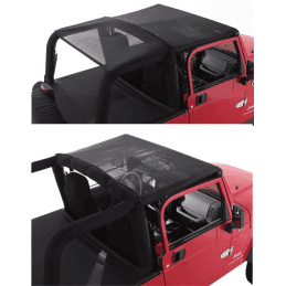 Bâche Bikini convertible 2 - 4 places - Noire/ filet  Jeep Wrangler YJ 1992-1995 // CB10011
