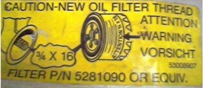filtre à huile métrique ou filtre à huile en pouce